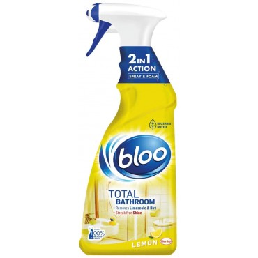 Bloo 2-in-1 Total Bathroom and Shower Cleaner, Spray and Foam Recycled and Refillable Bottle 750ml