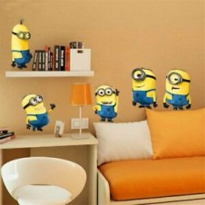 wall sticker 3d Minions face NON LICENSED Removable Wall Sticker Art Decal Kids Room Decor