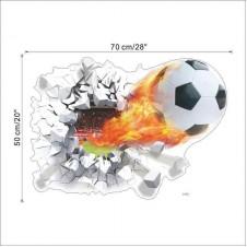 wall sticker 3d firing football through kids room decoration 1473. home decals