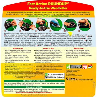 Roundup Fast Action Weedkiller Pump 'N Go Ready To Use Spray, 5 Litre