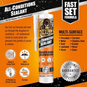 Gorilla All Conditions Sealant Silicone Clear 295ml