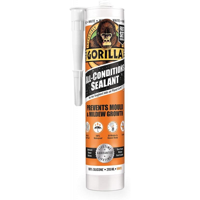Gorilla All Conditions Sealant Silicone White 295ml