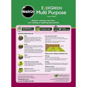 Miracle-Gro EverGreen Multi Purpose Lawn Seed 1.6kg - 56m2