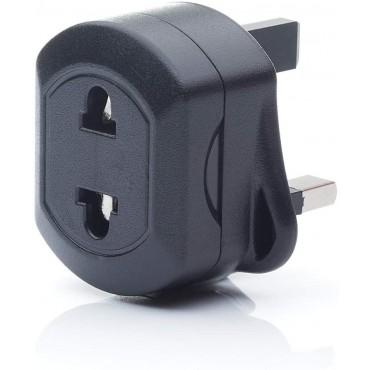EU 2 Pin To UK 3 Pin Fused Adaptor Plug For Shaver/Toothbrush Black