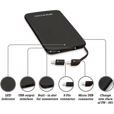 Power Bank 4000mAh, Credit Card Size Pocket,Wallet Power Bank with Built-In Micro USB & 1 port output Fast charging