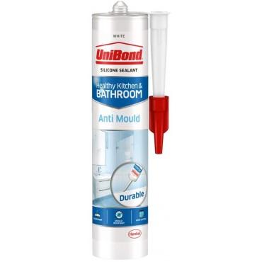 Unibond Silicone Sealant Anti Mould Unibond for Mould Kitchen & Bathroom, White