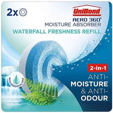 UniBond AERO 360Moisture Absorber Waterfall Freshnes Refill Tab Pack (2 x 450g)