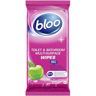 Bloo Toilet & Bathroom wipes, Sweet Apple, 36 Wipes