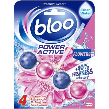 Bloo Power Active, Flowers, Toilet Rim Block Clear Water  - 50g