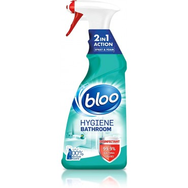 Bloo 2-in-1 Hygiene Bathroom Cleaner, Spray and Foam, Removes Limescale and Dirt, 750 ml