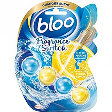 Bloo Fragrance Switch Toilet Rim Block Marine Ocean & Lemon with Anti-Limescale, Cleaning Foam, Dirt Protection and Extra Freshness - 50g