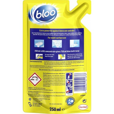 Bloo Total Bathroom Refill Lemon, Easy to Refill, Removes Limescale and Dirt, 250 ml