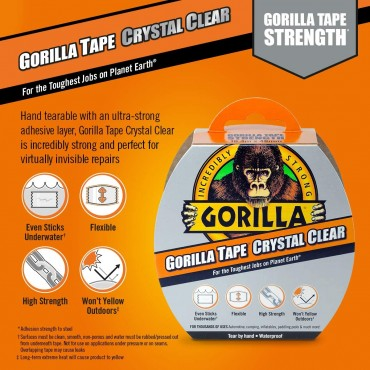 Gorilla Clear Repair Tape 8.2m x 48mm , 8.2 metr