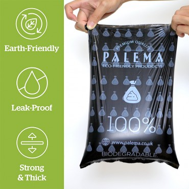 PALEMA Compostable Dog Poop Bag 18 Roll with dispensers. Compostable & Biodegradable Waste Bags for Dogs Leak-Proof Green